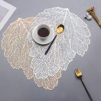 Placemat mesa de jantar coasters folha folha simulação pvc copo de café mesa tapetes oco cozinha natal decoração home presentes AHD3861