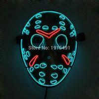 Freitag der 13. Das letzte Kapitel LED leuchten Freddy Figur Maske Musik Active El Leuchtstoff-Horror-Maske Hockey-Partei-Lichter T200907