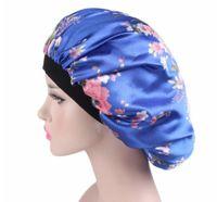 Горячего Сад Главной Моды Женщина атласной Night Sleep Cap шапочка для душа для волос Bonnet Hat Silk Крышка головки Широкого регулируемая Резинка