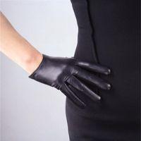 das mulheres de design curto luvas de pele de carneiro genuína luvas de couro tela sensível ao toque luva motocicleta preta fina R630 201019