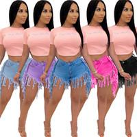 2021 Yeni Gelenler Bayan Tasarımcı Şort Yaz Yüksek Bel Aşınma Püsküller Şort Jeans Moda Casual Kadın Giysileri