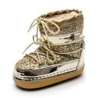 Swonco Bling Pailletten Schneeschuhe Frauen Samt Pelz Warme Mond Schuhe Plattform Neue Weibliche Luxus Ankle Boots Space Boot Shoes 201128