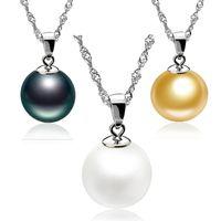 جودة عالية 925 فضة 12 ملليمتر لؤلؤة قلادة قلادة قلادة مع سلسلة الأزياء والفضة والمجوهرات رخيصة بالجملة 72 J2