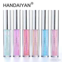 새로운 handaiyan 6cors glow glitter shimmer 인어 Lipgloss 립 틴트 보습 방수 금속 오래 지속되는 액체 립 광택 립 밤