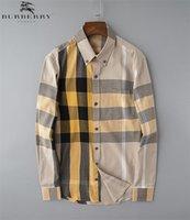 Marka Erkek İş Casual gömlek erkek uzun yeni moda erkek gömlek D91 kontrol sosyal erkek tişört slim fit camisa Masculina çizgili kol