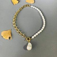Frauen natürlicher barocke Perle Halskette Süßwasser-Zuchtperlen Punkgoldfarbe Kette asymmetrische Design Mode langer Schmuck 0927
