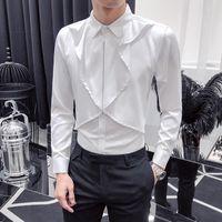 CAMISETAS DE CANTLEMENTOS MEN 2021 A estrenar Slim Fit Mens Casual Camisas Todos Match Streetwear Hombre Camisa de manga larga Vestido de smoking 3XL