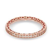 새로운 18K 로즈 도금 매혹적인 왕관 Pandora 925 스털링 실버 CZ 다이아몬드 여성 결혼 반지 세트를위한 링 원래 상자