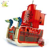 HUIQIBAO 1099 adet Dokuz Yılan Gemi Yapı Taşları Luffy Boa Hancock Anime Rakamlar Korsan Tekne Tuğla Seti Çocuk Oyuncakları Çocuklar Hediye