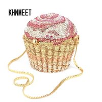 Designer-Marke Luxus Kristall Abendtasche Mode Cupcake Diamant Clutch Soiree Geldbörse Frauen Hochzeit Braut Kuchen Handtaschen SC515 Y201224