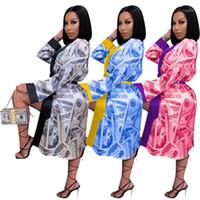 Тенденции моды доллар шаблон Длинные рукава Кардиган Короткие юбки Дизайнер Женский осени новый сексуальный вскользь Мини платье Пижамы женские Главная платье