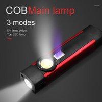 Zoom 18650 3 Modalità COB LED Mini penna luce UV magnete USB ricaricabile Lampada torcia da lavoro # 41