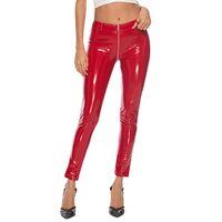 Artı Boyutu PU Suni Deri Tayt Parlak Sıska Pantolon Kadınlar Düşük Bel Fermuar Crotch WetLook PVC Lateks Patent Kalem Pantolon 0927
