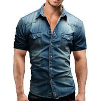 남자 데님 얇은 셔츠 짧은 소매 두 주머니 슬림 약간 탄성 청바지 카우보이 셔츠 의류 크기 M-3XL