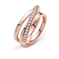トリプルバンドリング女性の上の前秋の新しい2020シグネチャークロスオーバー結婚指輪ジルコンシルバーラウンド1