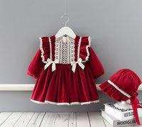 Baby Mädchen Weihnachts-Party-Kleid Kinder rote Spitze Falbala Fly-Sleeve-Kleider Baby Bogen Samt Prinzessin Kleid Mädchen 1. Geburtstags Kleid A4867