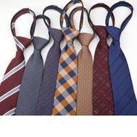 Шея галстуки 2021 Ленивые галстуки на молнии для мужчин Костюм Бизнес-галстук Черный красный галстук декорудные вечеринки Грапата Полиэстер жених