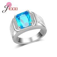 Melhor Qualidade Nova Venda de prata esterlina 925 para homens / mulheres azul Dazzling CZ anéis de dedo para as Mulheres Engagement Jewelrly