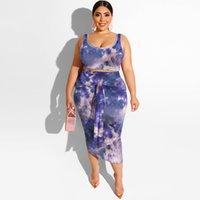 Женские трексуиты напечатанные плотные бедра моды повседневный костюм большого размера платье из двух частей набор WOREN Одежда подходящие наборы цветочные сексуальные наряды 5XL