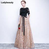 LadyBeauty Vintage Black A-Line Dentelle Longue Soirée Robes à moitié manches perlées Col de la scoople longue Appliques robe de soirée robe de bal 201113
