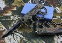 Knuckle Kamuflaj Survival Katlanır Bıçak 7CR17MOV 57HRC Blade Alüminyum Kolu Bıçak Açık Kamp Taktik Bıçaklar Perakende Kutusu ile