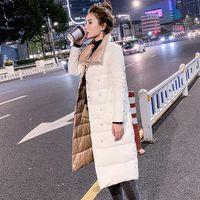 ftlzz 여자 두 번 양면 긴 재킷 겨울 90 % 화이트 오리 다운 코트 더블 브레스트 따뜻한 파카 스노우 outwear