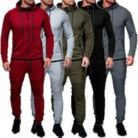 2pcs Mens Tracksuit Jogging Top Bottom Sport Suit Hoodie Coa...