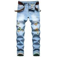 Quanbo Męskie Zgrane Dżinsy Dżinsy 2020 Nowa Jesień Zima Moda Zgrywanie Slim Fit Straight Neg Denim Jeans Light Blue
