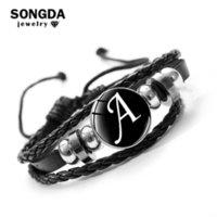 Songda 26 Letter A-z vidro snap metal Bead Id Nome Amizade preto de couro trançado pulseira Homens Mulheres Presente da família Crianças