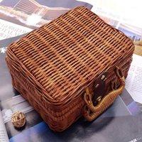 El yapımı Seyahat Piknik Bambu Mini Rattan Bavul Dokuma Meyve Kozmetik Kutusu LX9F1