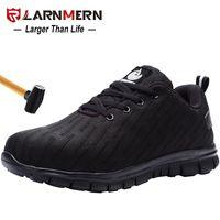 LARNMERN Мужская работа Безопасность Обувь Steel Toe Anti-разбив Светоотражающие Lightweight-750G дышащий Строительство Sneaker 201019