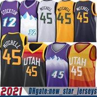 Donovan 45 Mitchell Formaları 2021 Şehir John 12 stockton Formalar Karl 32 Malone Retro Vintage Jersey Basetball Üniforma