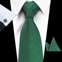 العلاقات الرقبة Gusleson العلامة التجارية الصلبة اللون التعادل مجموعة 8 سنتيمتر أسود الأخضر الرقبة gravata جيب سكوير بيزلي الحرير منديل أزرار أكمام