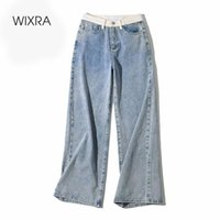 Wixra Womens Demin Pants Design Patchwork Wide-Leg Straight Jeans Womens Street Style Button Zipper Ladies Spring Autumn