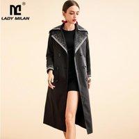 레이디 밀라노 여성 활주로 트렌치 코트가 칼라 긴 소매 자수 더블 브레스트 패션 코트 Overcoat1
