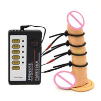 4pcs Penis-Ring-Elektroschock-Host und Kabel Elektroschock Sexspielzeuge Elektrostimulation Sex-Spielzeug für TENS Spiel für Erwachsene