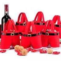 Traitement de Noël Bag de bonbons Porte-bouteille de vin Pantalon Santa Pantalon cadeau Sacs d'emballage de mariage Nouvel An Décor Jk2010ph
