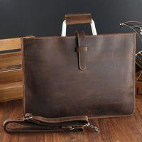 HBP Zipper Briefcase Genuine Messenger Office Bags For Men Crazy Horse Leather Laptop Bag 13 Inch Maletines Hombre Q0114