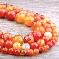 Andere natürliche orange agate steinperlen glatte gestreifte runde lose spacer für schmuck herstellung diy armbänder handmade1