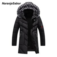 NaranjaSabor New Mens Winter Parka Men's Thick Warm Windproof Coat Men Solid Hooded Fur Collar Jacket Male Long Overcoat N634