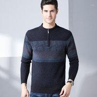 Гревол осень зима новые мужчины случайные шерстяные пуловер свитер шерсть наполовину высокого воротника вязаный свитер мужской одиночный дизайн 81031