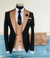 Золотые мужские костюмы Пром насечкой нагрудные Slim Fit Свадебный костюм для мужчин Смокинги Три пьесы Пиджаки куртка жилет и брюки