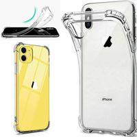 Cas clairs pour iPhone 12 / Mini / Pro MAX 11 XR XS SE SOFT SOFT TPU Housse de couverture de gel Silicone antichoc