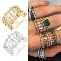 خواتم الزفاف Janekelly سحر 3 ألوان الزفاف الاسترليني مع لامعة واضح النمساوية كريستال دبي مجوهرات أعلى جودة 1