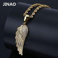 Jinao Moda Charm Kadınlar Takı Melek Kanatları kolye kolye Altın Gümüş Rengi Kaplama buzlu Out Tam CZ En Hediye Fikir 200929