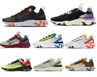 New barato gravado costuras Reagir Elemento 87 55 Mens Running Shoes Equipe Red Triple branco preto Paisana mulheres treinadores desportivos Sneakers