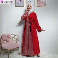 Roupas étnicas Luxuosos Diamantes Muçulmanos Beading Cardigan Abaya Vestido Completo Quimono Longo Vestido Vestidos Jubah Dubai Oriente Médio Árabe Coágulo Islâmico