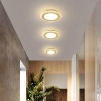 Plafoniere moderno LED per la cucina di casa corridoio diametro 20 centimetri ingresso plafond de lustro ha portato Cristal plafoniera rotonda LED d'oro
