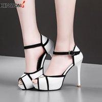 Sapatos de vestido primavera Bombas de outono mulheres 8cm Boca de peixe de salto alto com bloco de cor fino salto fivela sandálias femininas
