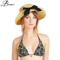 Fashion Brand Classic Summer Big Bowknot Wide Brim Straw Hat Floppy Foldable Roll up Beach Cap Sun Hats For Women Girls UPF 50+